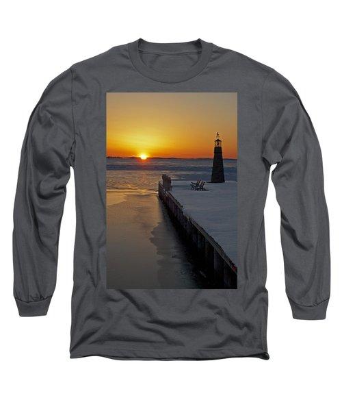 Long Sleeve T-Shirt featuring the photograph Winter Sunset On Lake Winneconne by Judy  Johnson