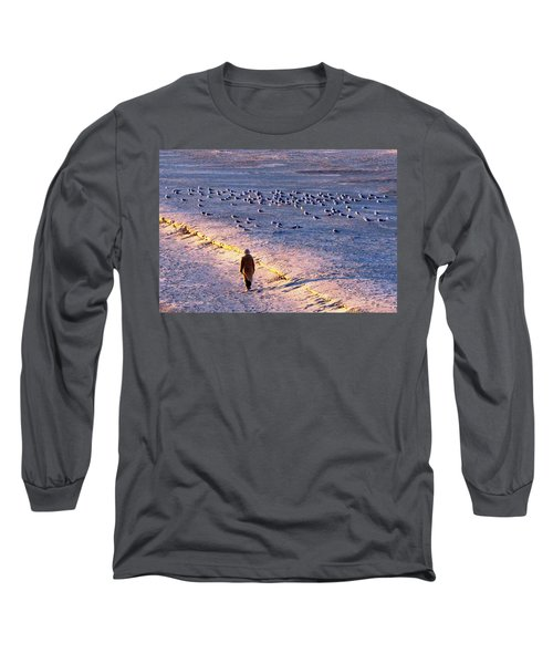 Long Sleeve T-Shirt featuring the photograph Winter Time At The Beach by Cynthia Guinn