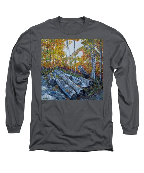 Long Sleeve T-Shirt featuring the painting Winter's Firewood by Marilyn  McNish