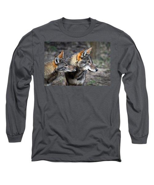 Wolf Alert Long Sleeve T-Shirt by Steve McKinzie