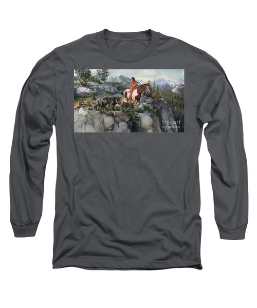 Long Sleeve T-Shirt featuring the painting Wolf Maiden by Rob Corsetti