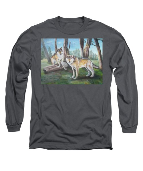 Long Sleeve T-Shirt featuring the painting Wolves In The Forest by Thomas J Herring