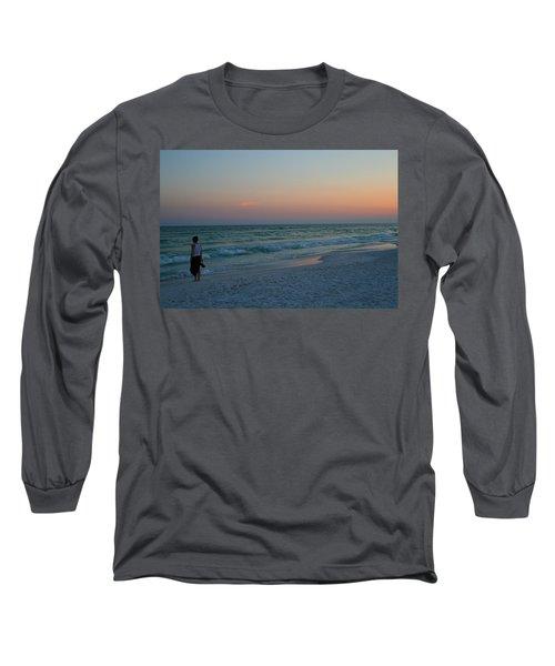 Woman On Beach At Dusk Long Sleeve T-Shirt