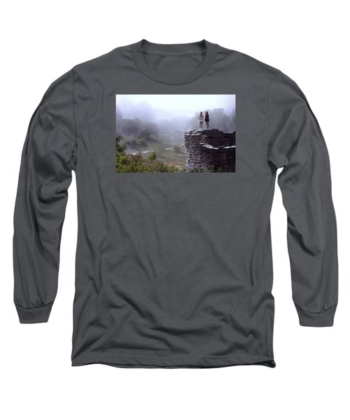 Women Overlooking Bright Foggy Valley Long Sleeve T-Shirt