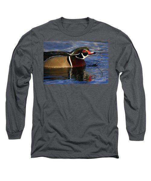 Wood Duck Waterdrops Long Sleeve T-Shirt