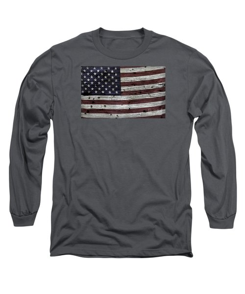 Wooden Textured Usa Flag3 Long Sleeve T-Shirt by John Stephens