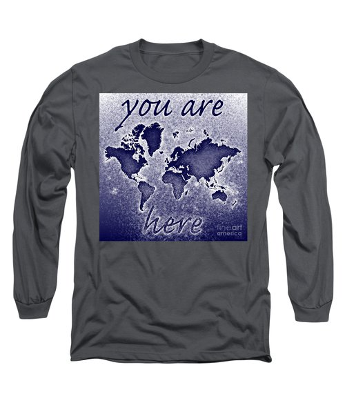 World Map You Are Here Novo In Blue Long Sleeve T-Shirt by Eleven Corners