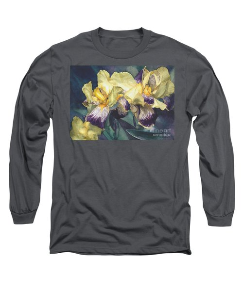 Yellow And Purple Streaked Irises Long Sleeve T-Shirt by Greta Corens