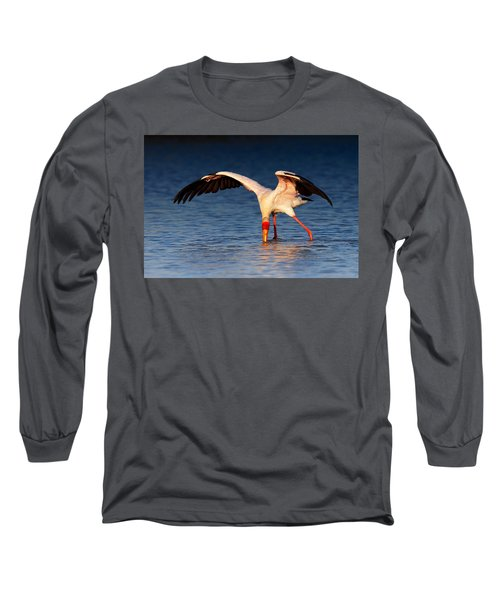 Yellow-billed Stork Hunting For Food Long Sleeve T-Shirt