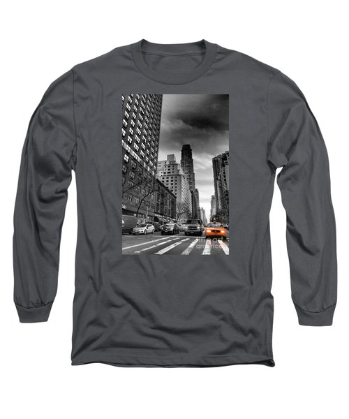 Yellow Cab One - New York City Street Scene Long Sleeve T-Shirt