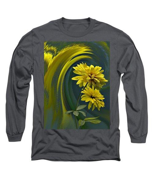 Long Sleeve T-Shirt featuring the digital art Yellow Mum Fantasy by Judy  Johnson