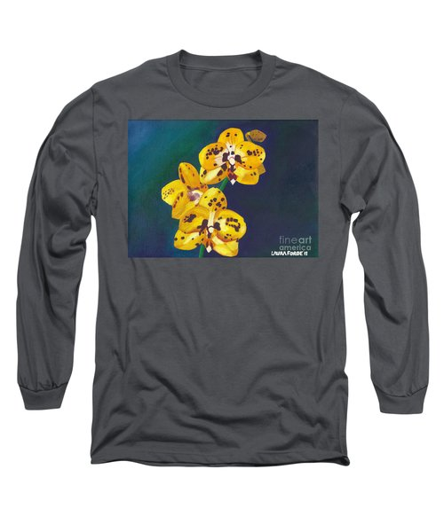 Yellow Orchids Long Sleeve T-Shirt by Laura Forde