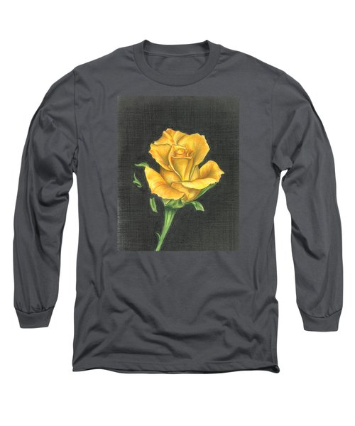 Long Sleeve T-Shirt featuring the drawing Yellow Rose by Troy Levesque