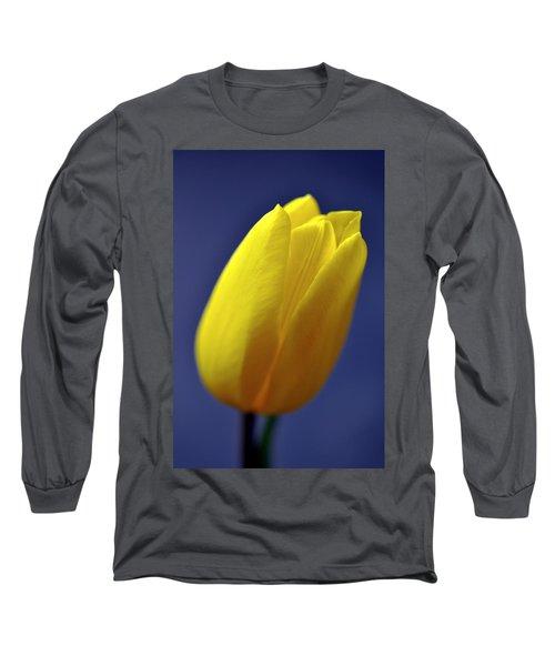 Yellow Tulip On Blue Background Long Sleeve T-Shirt