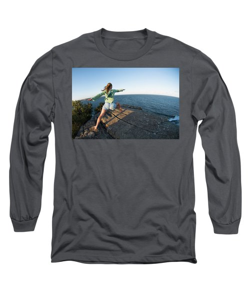 Yoga On Rocky Outcrop Above Ocean Long Sleeve T-Shirt