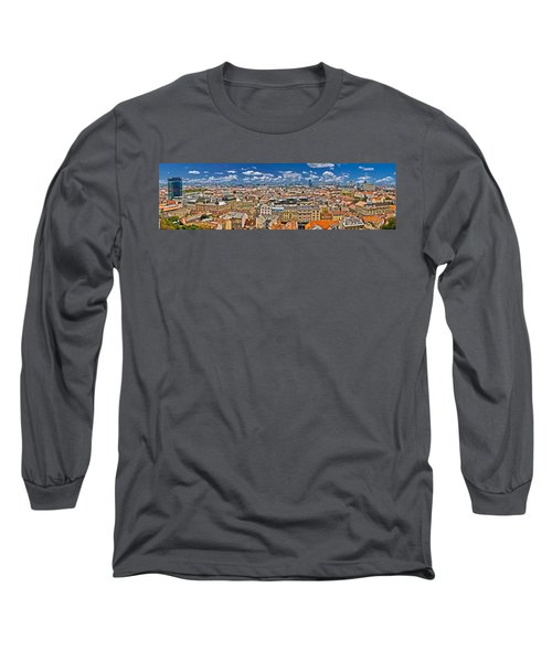 Zagreb Lower Town Colorful Panoramic View Long Sleeve T-Shirt