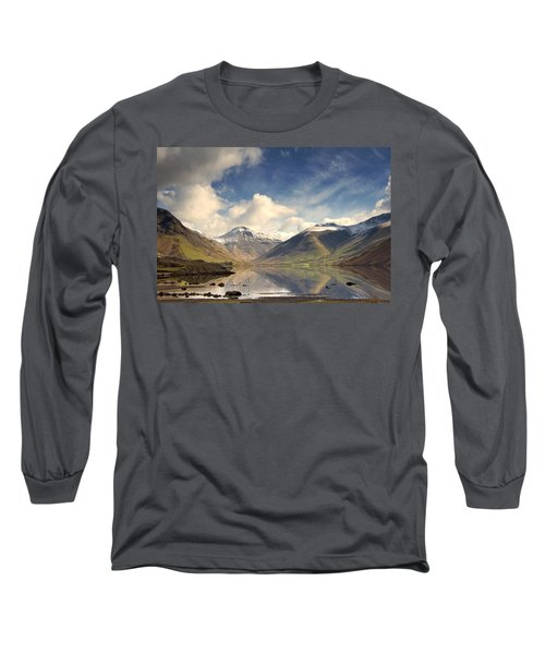Long Sleeve T-Shirt featuring the photograph Mountains And Lake At Lake District by John Short