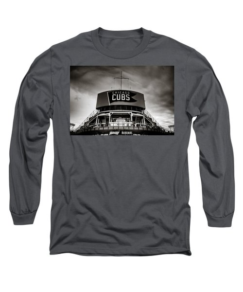 Wrigley Field Bleachers In Black And White Long Sleeve T-Shirt