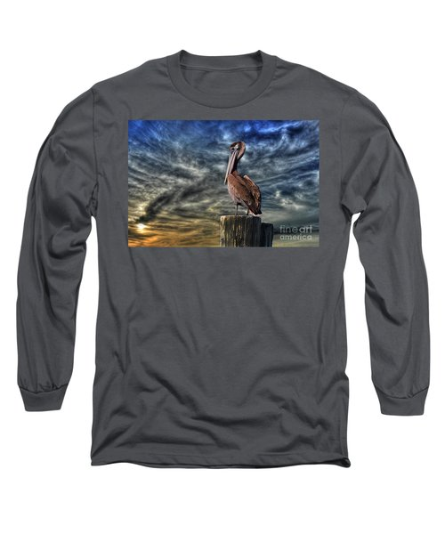 Long Sleeve T-Shirt featuring the photograph Pelican At Sunset by Dan Friend