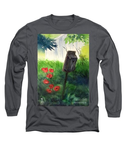 Long Sleeve T-Shirt featuring the painting A Bird House In The Geddes Farm --ann Arbor Michigan by Yoshiko Mishina