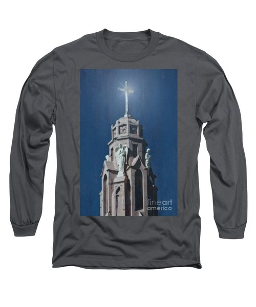 A Church Tower Long Sleeve T-Shirt by Donna Greene