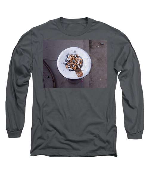 Long Sleeve T-Shirt featuring the photograph A Lot Of Cigarettes Stubbed Out At A Garbage Bin by Ashish Agarwal