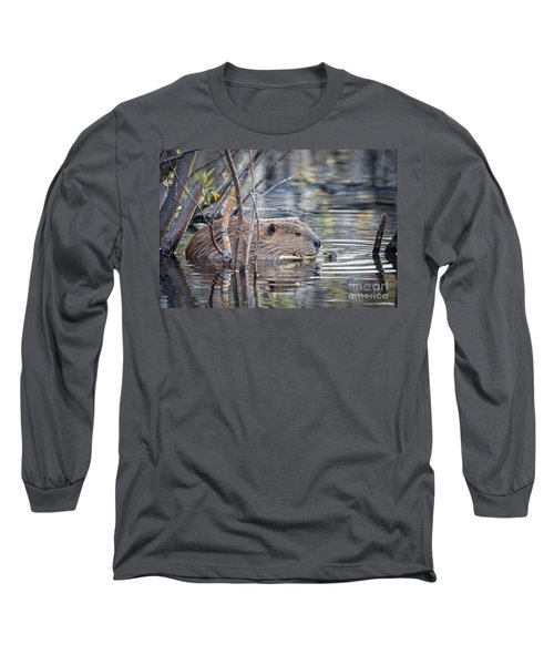 American Beaver Long Sleeve T-Shirt by Ronald Lutz