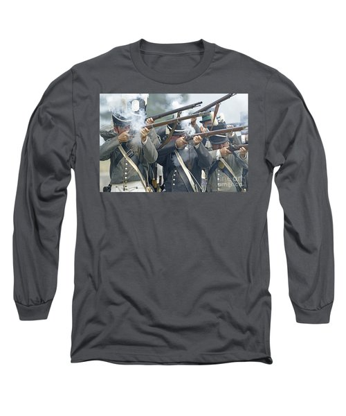 Long Sleeve T-Shirt featuring the photograph American Infantry Firing by JT Lewis