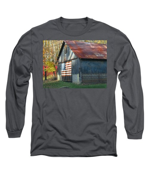 Long Sleeve T-Shirt featuring the photograph Americana Barn by Clara Sue Beym