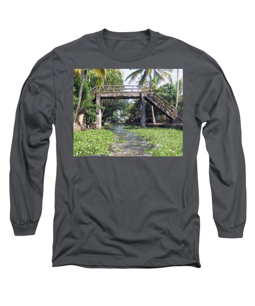 An Old Stone Bridge Over A Canal In Alleppey Long Sleeve T-Shirt