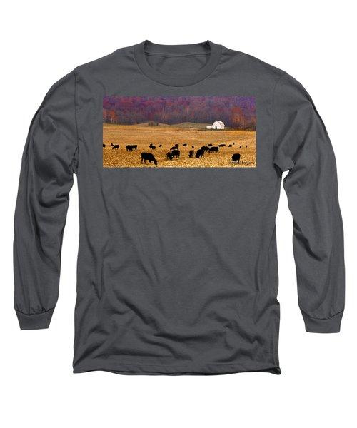 Long Sleeve T-Shirt featuring the photograph Angus And Oaks  Farm by Randall Branham