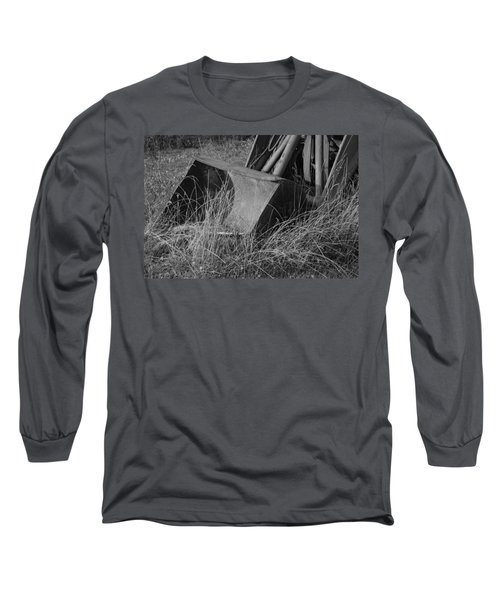 Long Sleeve T-Shirt featuring the photograph Antique Tractor Bucket In Black And White by Jennifer Ancker