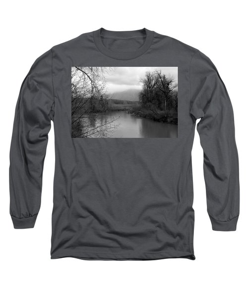 At The River Turn Bw Long Sleeve T-Shirt by Kathleen Grace