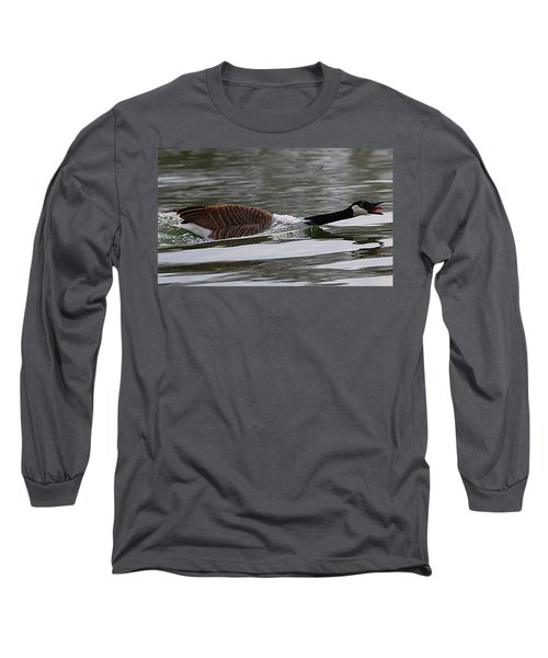 Long Sleeve T-Shirt featuring the photograph Attack Of The Canadian Geese by Elizabeth Winter