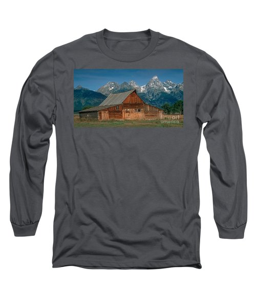 Barn And Tetons Long Sleeve T-Shirt by Jerry Fornarotto