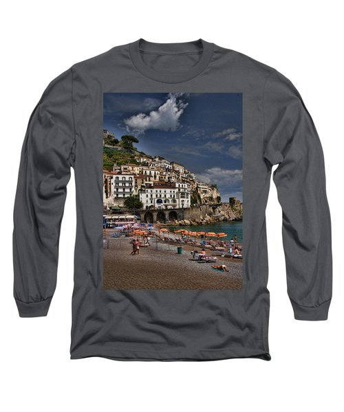 Beach Scene In Amalfi On The Amalfi Coast In Italy Long Sleeve T-Shirt