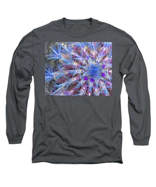 Blue Cactus Long Sleeve T-Shirt by Rebecca Margraf