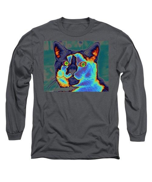 Blue Kitty Long Sleeve T-Shirt