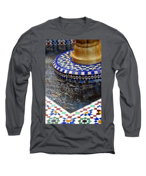 Blue Mosaic Fountain II Long Sleeve T-Shirt by Bonnie Myszka