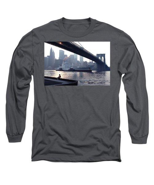 Boy Freighter Brooklyn Bridge Sunset Long Sleeve T-Shirt