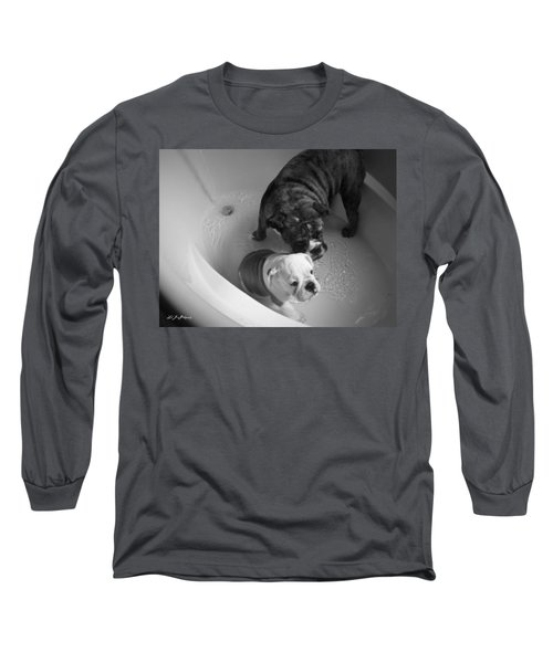 Long Sleeve T-Shirt featuring the photograph Bulldog Bath Time by Jeanette C Landstrom