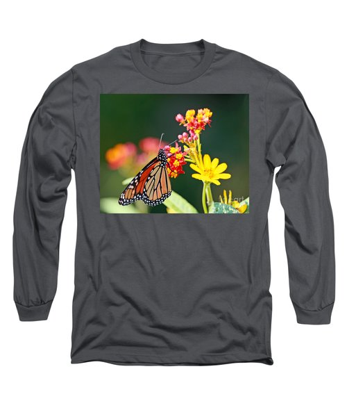 Butterfly Monarch On Lantana Flower Long Sleeve T-Shirt