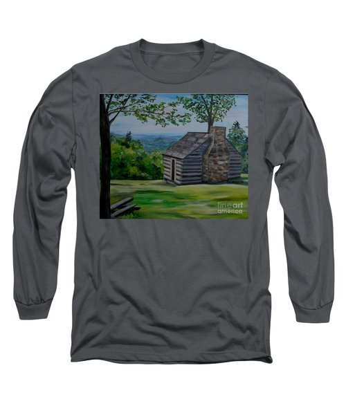 Long Sleeve T-Shirt featuring the painting Cabin On The Blue Ridge Parkway In Va by Julie Brugh Riffey