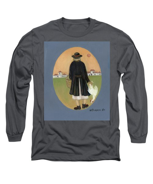 Caparot Rooster Hasid Back View Jewish Religious In Blue Yellow Black Green  Long Sleeve T-Shirt
