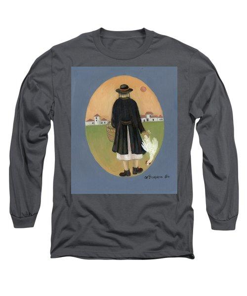 Caparot Rooster Hasid Back View Jewish Religious In Blue Yellow Black Green  Long Sleeve T-Shirt by Rachel Hershkovitz