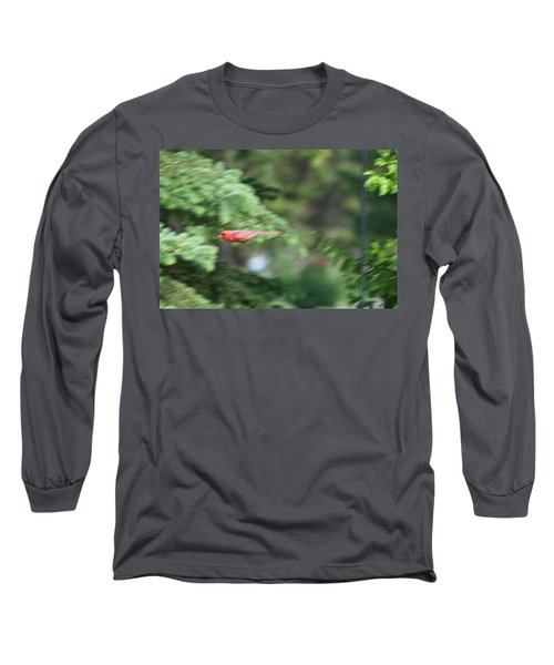 Long Sleeve T-Shirt featuring the photograph Cardinal In Flight by Thomas Woolworth