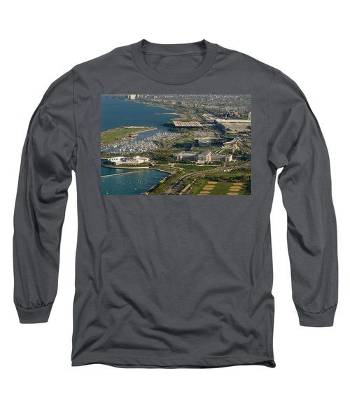 Chicagos Lakefront Museum Campus Long Sleeve T-Shirt by Steve Gadomski