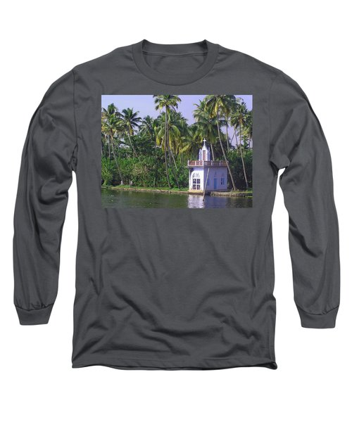 Church Located On A Coastal Lagoon In Kerala In India Long Sleeve T-Shirt