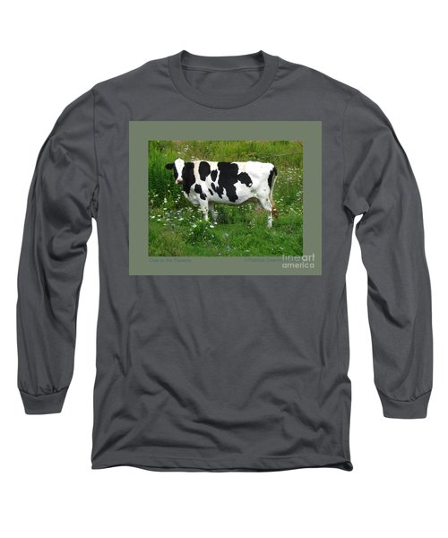 Cow In The Flowers Long Sleeve T-Shirt by Patricia Overmoyer
