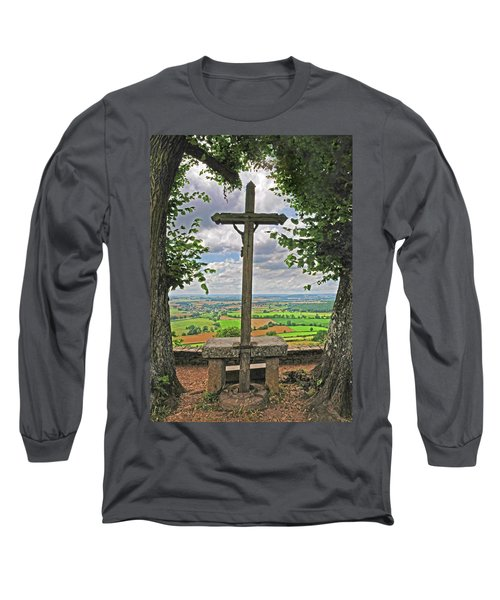 Long Sleeve T-Shirt featuring the photograph Crucifix Overlooking The French Countryside by Dave Mills